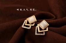 Fashion Korean Style Opal with full edge stone Romantic Ear Stud