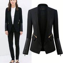 HFR-T1161 Cool black stand collar pu matching women slim down coat