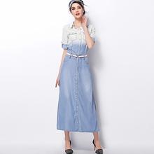Women's Dip Dye Chambray Denim Shirt Maxi Dress Color Change OEM Type Manufacturer Factory Guangzhou