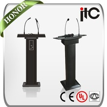 ITC T-6236B Built-in 60W Amp and Speaker Gooseneck Microphone Wooden Rostrum with Wireless Microphone