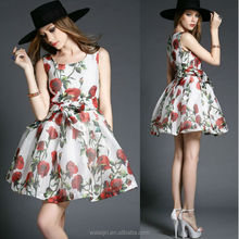 Tulle shell big flower print sleeveless puffy ladies dress OEM