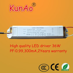 LED Driver 36W PF:0.99 300mA,no ripples, CE certification