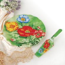 Popular Flower Design Cake Plate and Fork Sets 7pcs Different Shape Dinner Set