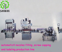 automatic 4 nozzles filling capping and labeling production line