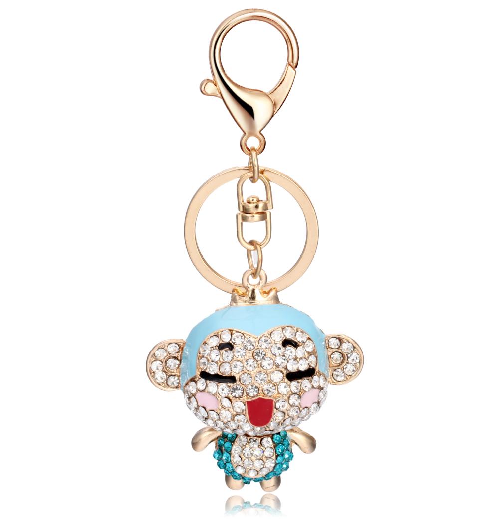 최신 열쇠 고리 디자인 라인 스톤 동물 원숭이 열쇠 고리 귀여운 ...