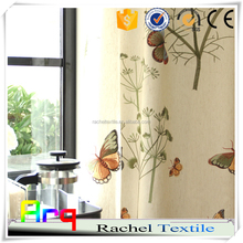 Spring Bufferful design linen/cotton embroidery fabric for Curtain in living room, window curtain