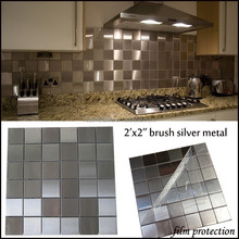 48x48 stainless steel silver mosaic tiles for wall kitchen decor in stock