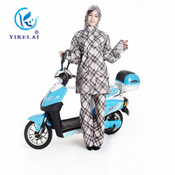 Safe motorcycle ladies in plastic raincoats supplier
