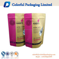 Customized Kraft aluminum SEA SALT packaging bags with zipper&window