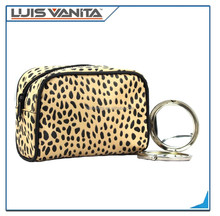 Full color printing Leopard transparent pvc cosmetic makeup bag with zipper