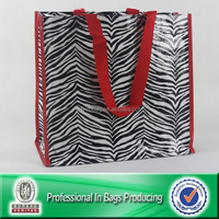 100% Recycled Material eco-friendly pp woven wholesale zebra print shopping bags