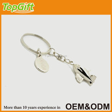 3d metal air plane keychain with round shaped name tag for custom logo