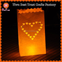 Wholesale Heart Design Paper Bags Wedding paper luminaire candle bags for celebration decorative