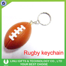 Promotional logo pu rugby ball key chain