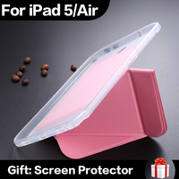 In Stock Smart Magnetic TPU Holder Luxury Ultrathin PU Leather Case For iPad 5 iPad Air