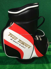 High quality embroidery logo black leather den caddy golf bag