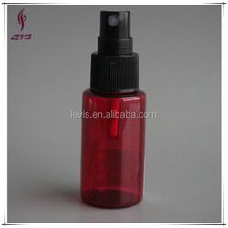 Empty red cosmetic pet bottle 30 ml with spray pocket sized