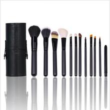 2015 nuevos 12pcs con la caja de madera Holder maquillaje Mango Sistemas de cepillo