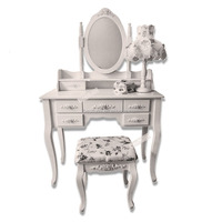 Latest New Popular High Quality European Style Seven Drawers Dresser Mirror Makeup Table Desk Factory&Supplier&Wholesaler