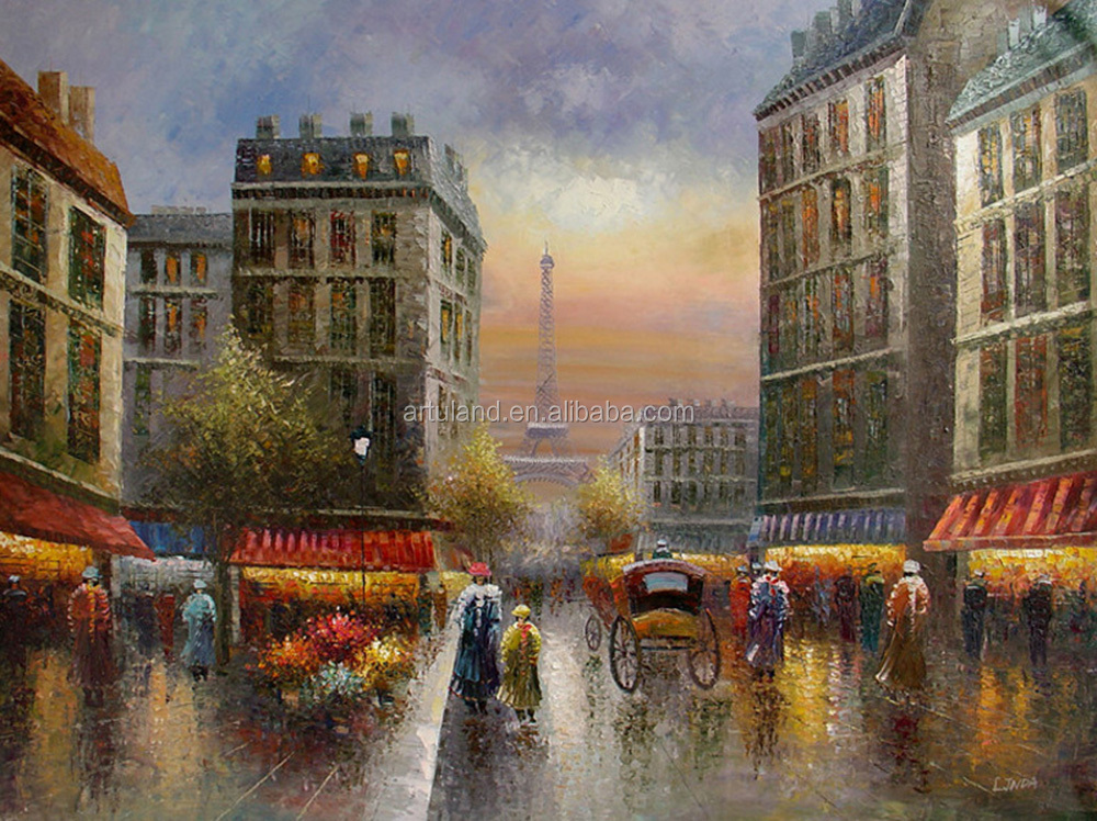 prachtige landschap schilderijen parijs straatbeeld ...