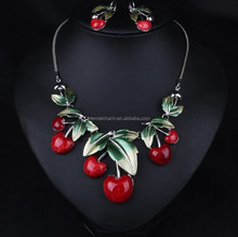 european style luxurious flora cherry nacklace sets