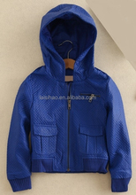 Fashion winter hooides kids bomber leather jacket