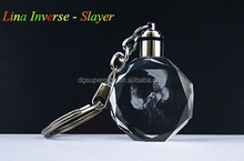 Linda Inverse-Slayer Dota 2 crystal LED colorful flash light keychain, Dota 2 Hero character keychains