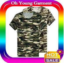 100% Cotton Collarless O-neck Short Sleeves Military Men Woodland Camouflage Custom T Shirt