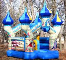 2015 cartoon castle inflatable jump house with obstacle game for children gifts