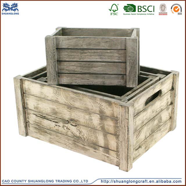 2015 new designed antique cheap wooden crates wholesale