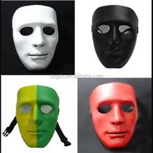 Supply 4 colors pvc plastic mask Hip Hop PVC Blank design party mask Halloween party face mask