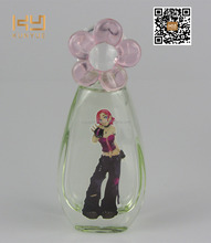 30ml cartoon printing pure glass perfume bottle with flower cap