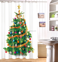New top selling 3d shower curtain, curtain design christmas tree for celebrating