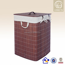 Morden and Nice flax lining dark brown bamboo laundry basket foldable brown baskets