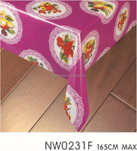Flowers and fruits plate table cloth PVC