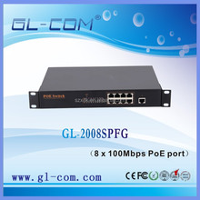 IEEE 802.3at Power over Ethernet PoE Switch compliant 8 x 100Mbps PoE port with 1G combo uplink