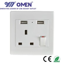 Indonesia HongKong dual USB Wall Socket switch Plate Mounted 13A 230V for iPad iPhone