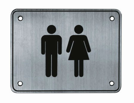 Marie hardware stainless steel toilet double sign plate buy toilet sign plate toilet sign for Stainless steel bathroom signs