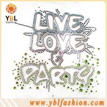 "rhinestone applique alphabet design for t shirt ""live love party"""