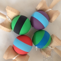 wholesale rubber paint stripe kendama professional factory beech Wood Toy Ball