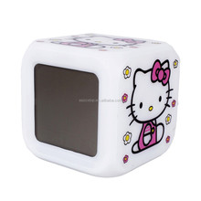 2015 Hot sale square shaped hello kitty Glowing LED Color Change Digital Alarm Clock