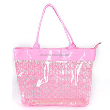 Pink pattern printed pvc shopping carry bag with handle