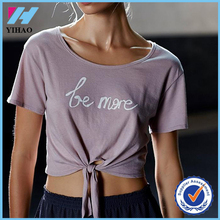 Yihao 2015 best selling women cotton polyester blank loose fit t shirt wholesale custom made sport workout crop top