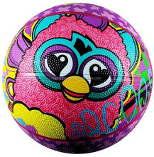 full printing cartoon rubber basketball /mini size outdoor rubber basketball for kids