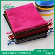 safe recyclable big velvet drawstring shopping bag