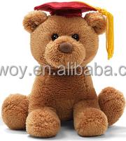 promotional custom soft plush stuffed Brown Graduation Dog Red Hat logo beanbag embroidery imprinted bandana t-shirt bib tie rib