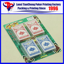 High Quality Custom 4 piece blister poker sets card 555 customized playing card printing