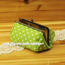 Fu-ka Japan Handmade Green Polka dot with Metal Clip Pouch