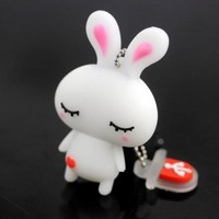 Promotional Gifts Cartoon Cute White Rabbit Pattern 2.0 USB Flash Drive 16GB Memory Stick