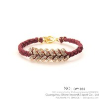 DIY Red ribbon woven bracelet braid friendship bracelet on diamante ring with gold plated clasp